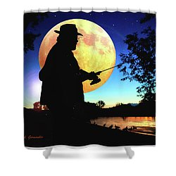 Fisherman In The Moolight Shower Curtain