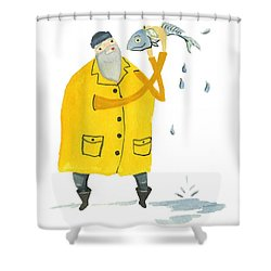 Shower Curtain featuring the painting Fisherman by Leanne WILKES