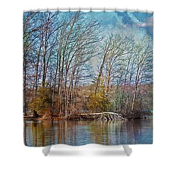 Fisherman On Burke Lake Shower Curtain