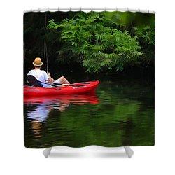 Fisherman On Lady Bird Lake - Digitalart Shower Curtain