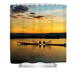 Fisherman On Their Boat Shower Curtain