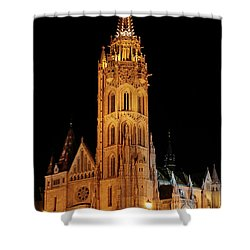 Shower Curtain featuring the digital art  Fishermans Bastion - Budapest by Pat Speirs