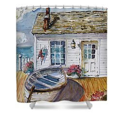 Fisherman's Cottage Shower Curtain by P Maure Bausch