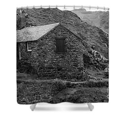 Shower Curtain featuring the photograph Fishermans Net Shed by Brian Roscorla