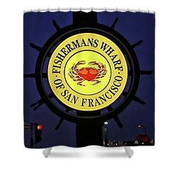 Fishermans Wharf Sign At Night Shower Curtain