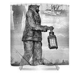 Fishermen - Jersey Shore Shower Curtain by Angie Tirado