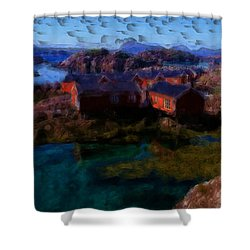Shower Curtain featuring the painting Fishermen Cabins by Mario Carini