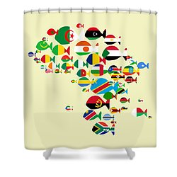 Fishes Map Of Africa Shower Curtain