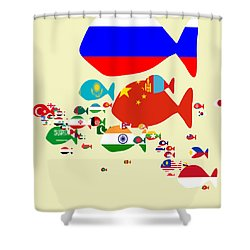 Fishes Map Of Asia Shower Curtain