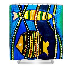 Shower Curtain featuring the painting Fishes With Seaweed - Art By Dora Hathazi Mendes by Dora Hathazi Mendes