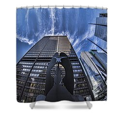 Fisheye View Of Chicago's Picasso Shower Curtain