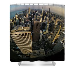 Fisheye View Of Dowtown Chicago From Above  Shower Curtain