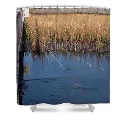 Fishin' Lines Shower Curtain by Kay Lovingood