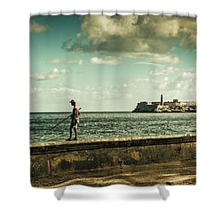 Fishing Along The Malecon Shower Curtain