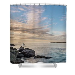 Shower Curtain featuring the photograph Fishing Along The South Jetty by Greg Nyquist