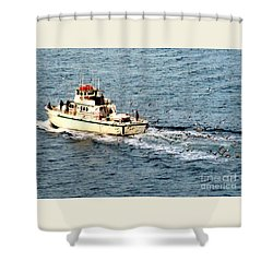 Shower Curtain featuring the photograph Fishing And Seagulls by Randall Weidner