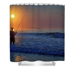 Shower Curtain featuring the photograph Fishing At Sunrise by Rick Berk