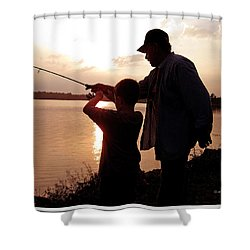Shower Curtain featuring the photograph Fishing At Sunset Grandfather And Grandson by A Gurmankin