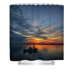 Fishing At Sunset Shower Curtain by Rick Berk