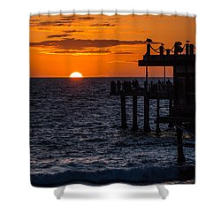 Fishing At Twilight Shower Curtain by Ed Clark