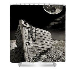 Fishing Boat Graveyard 3 Shower Curtain by Meirion Matthias