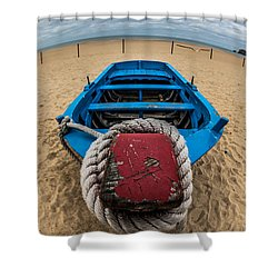 Little Blue Fishing Boat Shower Curtain