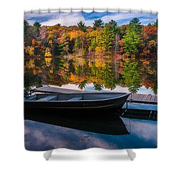 Shower Curtain featuring the photograph Fishing Boat On Mirror Lake by Rikk Flohr