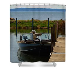 Shower Curtain featuring the photograph Fishing Boat by Ramona Whiteaker