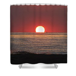 Shower Curtain featuring the photograph Fishing Boat Sunrise by Robert Banach