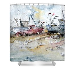 Fishing Boats At Hastings' Beach Shower Curtain by Barbara Pommerenke