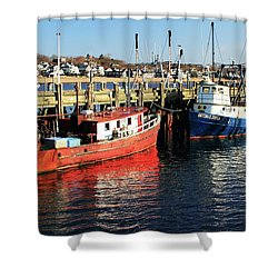Fishing Boats At Provincetown Wharf Shower Curtain by Roupen  Baker