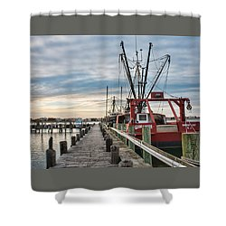 Fishing Boats At The Pier Shower Curtain