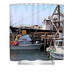 Shower Curtain featuring the photograph Fishing Boats At The T-pier by Art Block Collections