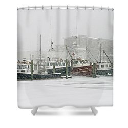 Fishing Boats During Winter Storm Sandwich Cape Cod Shower Curtain by Matt Suess