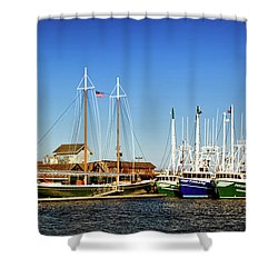 Fishing Boats In Cape May Harbor Shower Curtain