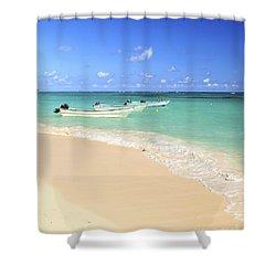 Fishing Boats In Caribbean Sea Shower Curtain by Elena Elisseeva
