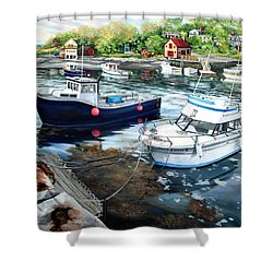 Fishing Boats In Lanes Cove Gloucester Ma Shower Curtain