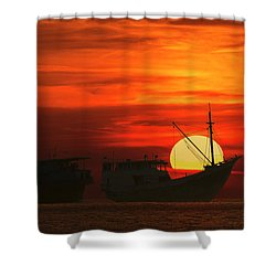 Fishing Boats In Sea Shower Curtain