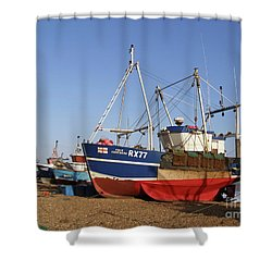 Fishing Boats On Hastings Stade Shower Curtain by Terri Waters