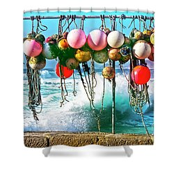 Shower Curtain featuring the photograph Fishing Buoys by Terri Waters