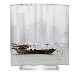 Fishing Dhow And Misty Towers Shower Curtain