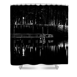Shower Curtain featuring the photograph Fishing Dock At Night 2017  by Thomas Young