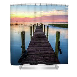 Shower Curtain featuring the photograph Fishing Dock At Sunrise by Debra and Dave Vanderlaan