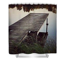 Fishing Dock Shower Curtain by Karen Stahlros