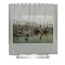 Fishing Fleet Dock Five Shower Curtain