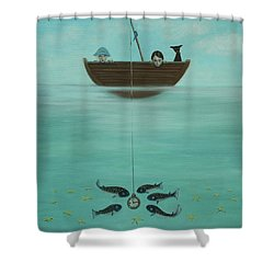 Shower Curtain featuring the painting Fishing For Time by Tone Aanderaa