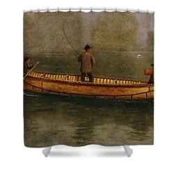 Fishing From A Canoe Shower Curtain by Albert Bierstadt