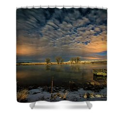 Fishing Hole At Night Shower Curtain by Fiskr Larsen
