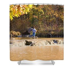 Shower Curtain featuring the photograph Fishing In Fall by Sheila Brown