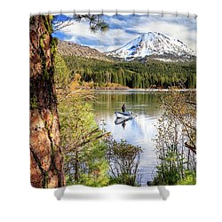 Shower Curtain featuring the photograph Fishing In Manzanita Lake by James Eddy